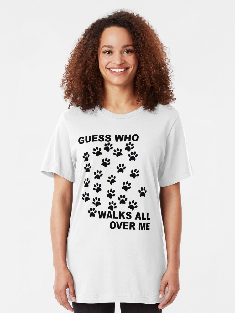 Alternate view of Guess Who Walks All Over Me Paw Prints Slim Fit T-Shirt