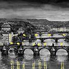 BW Prague Bridges by Yuriy Shevchuk