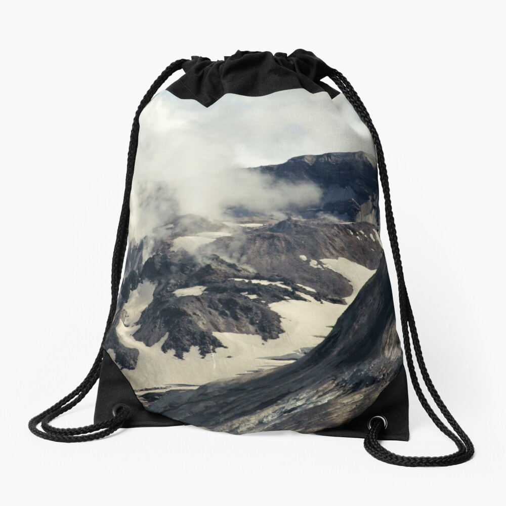 Mount St Helens lava dome closeup Drawstring Bag