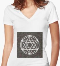 Sacred Geometry (w/ code background) Women's Fitted V-Neck T-Shirt