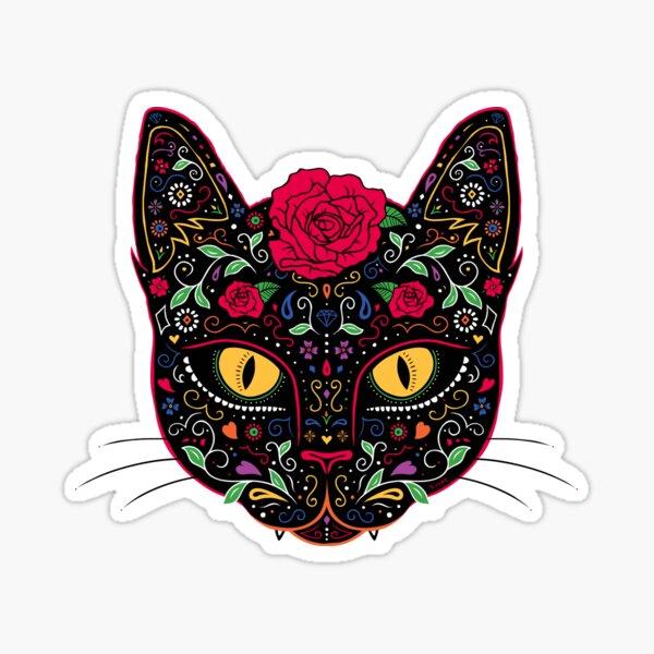 Day of the Dead Kitty Cat Sugar Skull Sticker