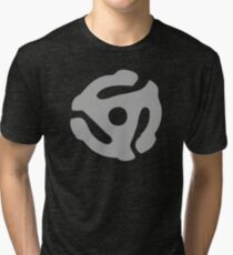 Gray 45 Vinyl Record Symbol Tri-blend T-Shirt