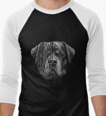 Rottweiler Quote, Loyalty Quote, Rottweiler Head, Rottweiler Text, Rottweiler Portrait, Dog Quote, Loyal, Faithful, Intelligent, Confident, Fearless, Clever, Strong Men's Baseball ¾ T-Shirt