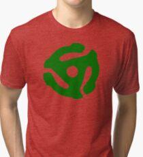 Green 45 Vinyl Record Symbol Tri-blend T-Shirt