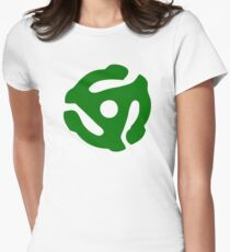 Green 45 Vinyl Record Symbol Women's Fitted T-Shirt