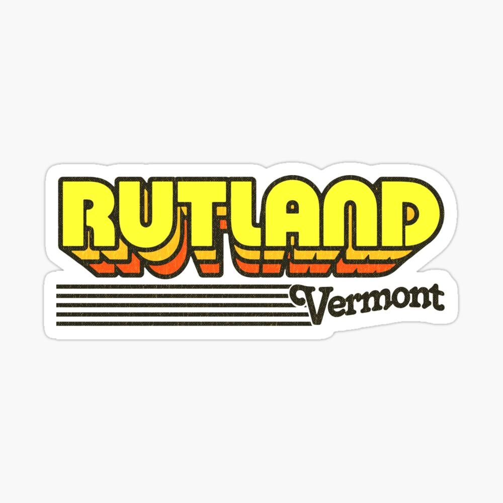 Rutland, Vermont   Retro Stripes Sticker