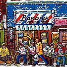 BARBER SHOP STORE FRONT MONTREAL WINTER SCENE PAINTING by Carole  Spandau
