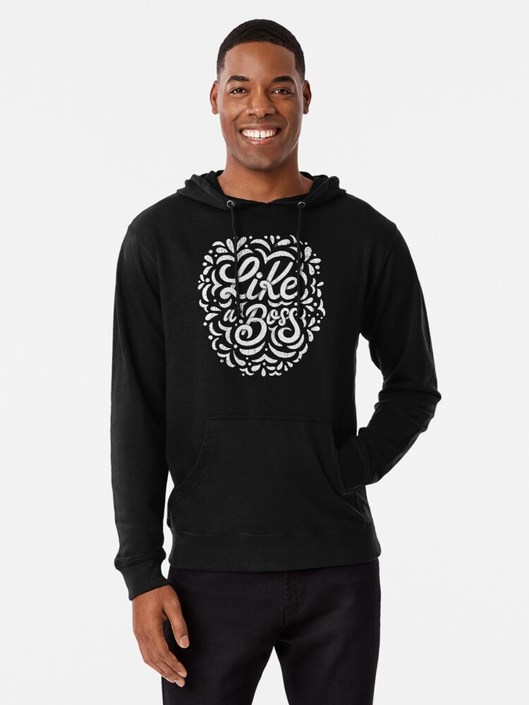 Alternate view of Like a Boss - Caligraphic design Lightweight Hoodie