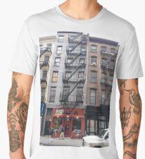 Apartment, New York, Manhattan, Brooklyn, New York City, architecture, street, building, tree, car,   Men's Premium T-Shirt