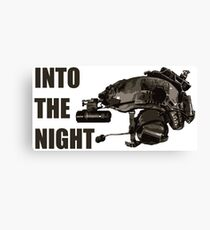 "Tactical Brainbucket ""into the night"" Canvas Print"