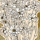 Chrysanthemum Flowers, White and Cream, Floral Art by clipsocallipso