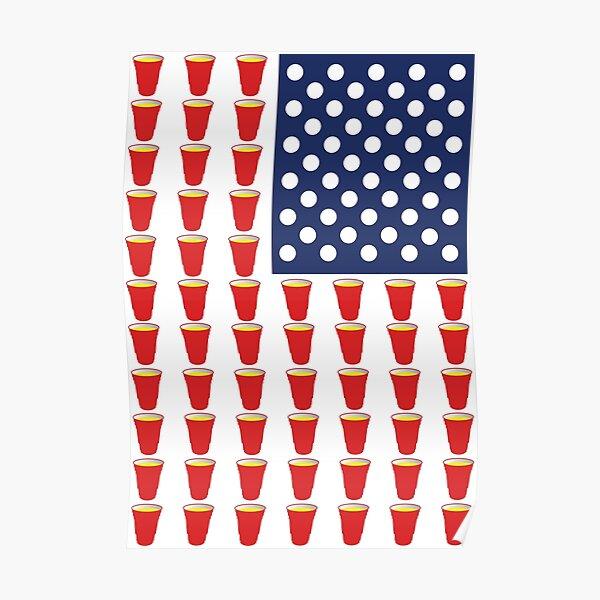 Beer Pong USA Flag Poster