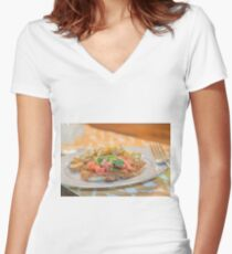 Parmesan Crusted Chicken Breast Women's Fitted V-Neck T-Shirt