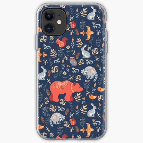 Fairy-tale forest. Fox, bear, raccoon, owls, rabbits, flowers and herbs on a blue background. iPhone Soft Case