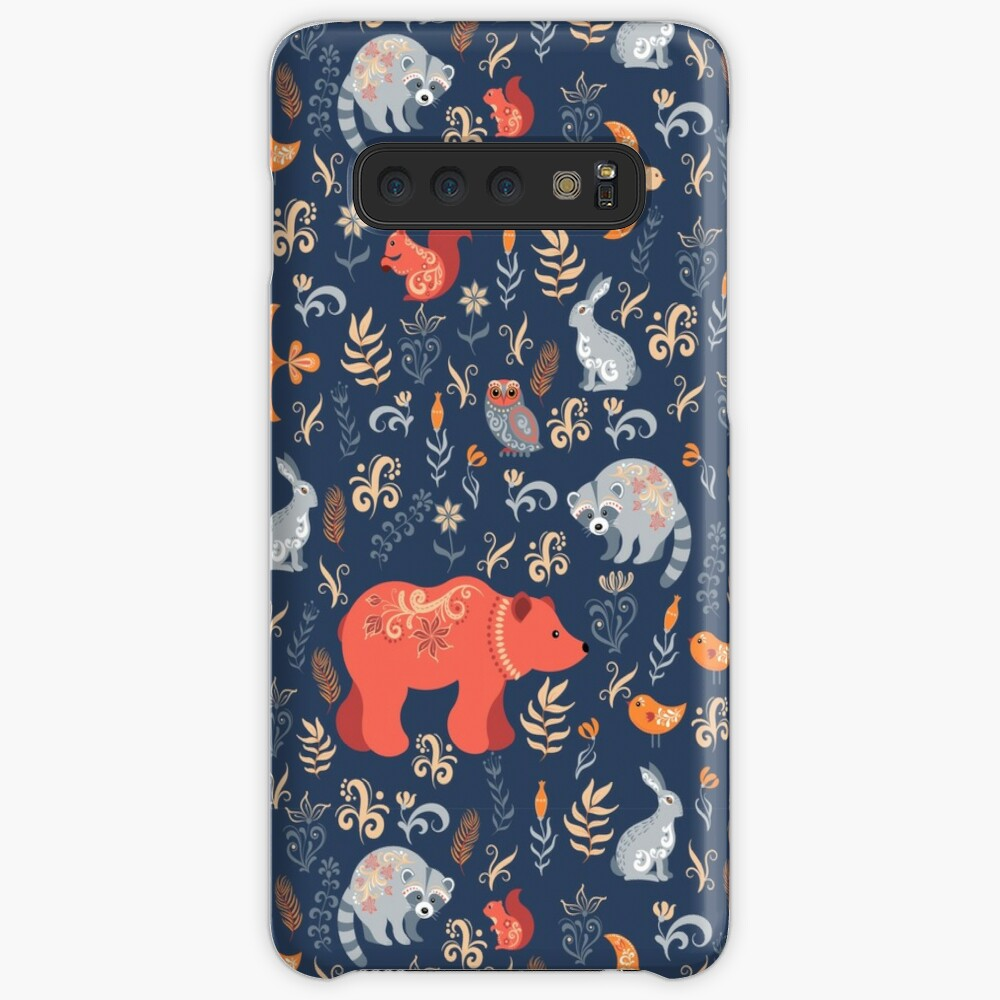 Fairy-tale forest. Fox, bear, raccoon, owls, rabbits, flowers and herbs on a blue background. Case & Skin for Samsung Galaxy
