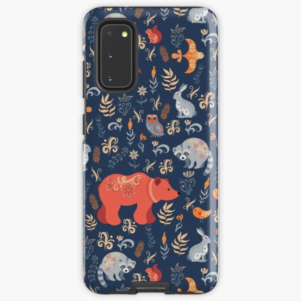 Fairy-tale forest. Fox, bear, raccoon, owls, rabbits, flowers and herbs on a blue background. Samsung Galaxy Tough Case