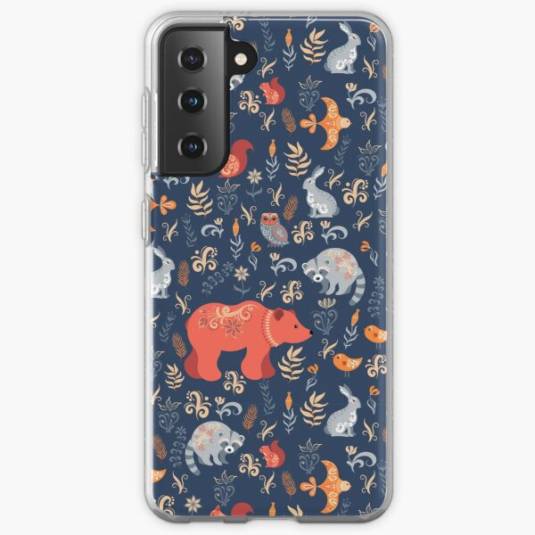 Fairy-tale forest. Fox, bear, raccoon, owls, rabbits, flowers and herbs on a blue background. Samsung Galaxy Soft Case