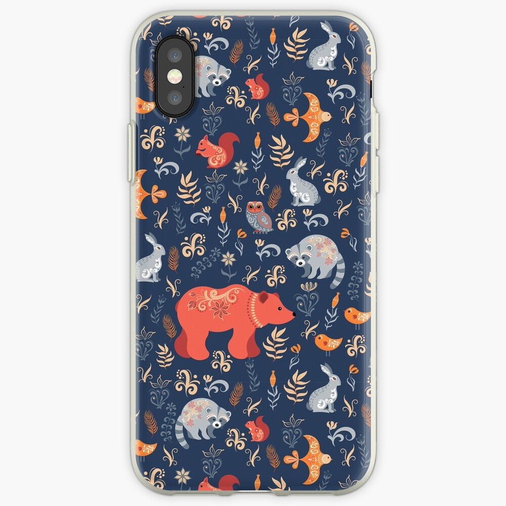 Fairy-tale forest. Fox, bear, raccoon, owls, rabbits, flowers and herbs on a blue background. iPhone Case & Cover