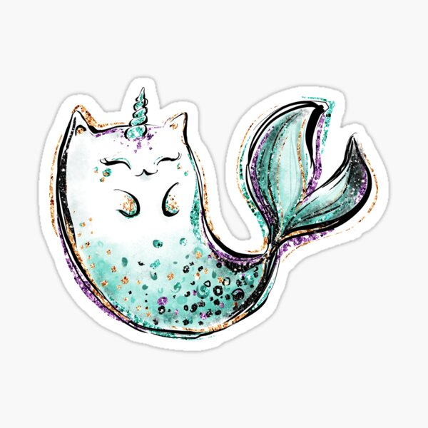 sirène de chat licorne Sticker