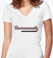 Bournemouth England - Vintage Sports Typography Women's Fitted V-Neck T-Shirt
