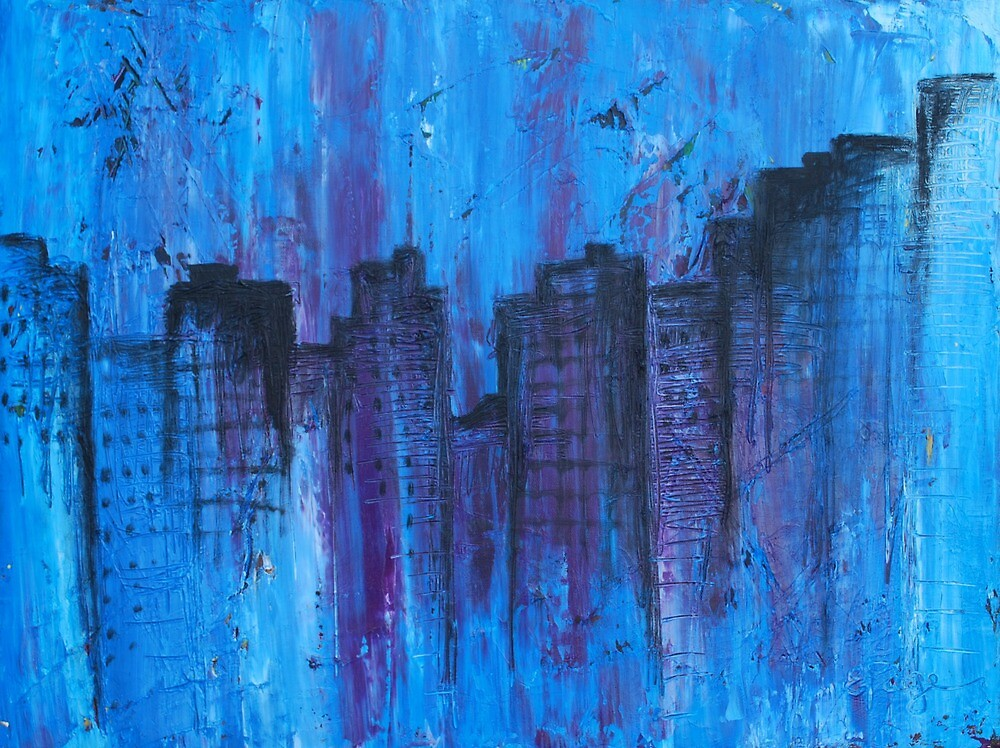 Metropolis in Blue by emilypageart
