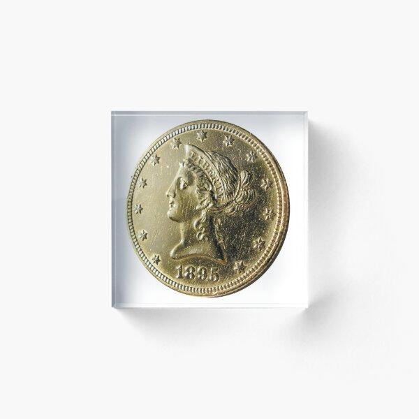 Antique 1895 Ten Dollar US Gold Coin Acrylic Block