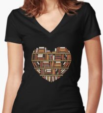 I Heart Books Women's Fitted V-Neck T-Shirt