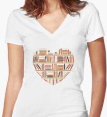 I Heart Books Women's Fitted V-Neck T-Shirt