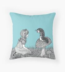 Alice and Caterpillar  Throw Pillow