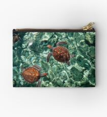 Fragile Underwater World. Sea Turtles in a Crystal Water. Maldives Studio Pouch
