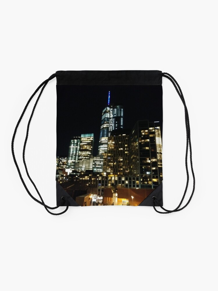 Alternate view of New York, Manhattan, Brooklyn, New York City, architecture, street, building, tree, car,   Drawstring Bag