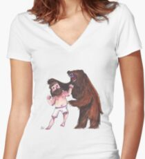 Bear wrestling Women's Fitted V-Neck T-Shirt