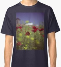 Red wild flowers poppies on hot summer day in urban city wasteland Hasselblad square medium format film analogue photo Classic T-Shirt