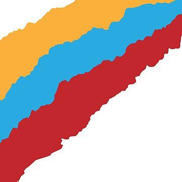 Yellow Blue Red Ripped Stripe Graphic T-Shirt by edamaya