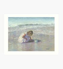 FINDING SEA GLASS BLOND BEACH GIRL Art Print