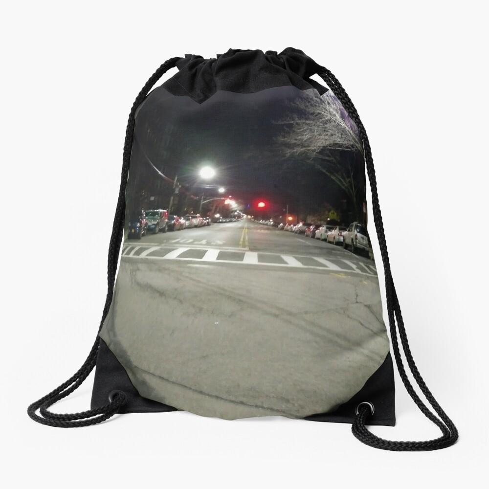 Street light, New York, Manhattan, Brooklyn, New York City, architecture, street, building, tree, car,   Drawstring Bag