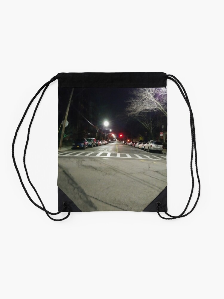 Alternate view of Street light, New York, Manhattan, Brooklyn, New York City, architecture, street, building, tree, car,   Drawstring Bag