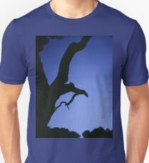 Tree branches in silhouette against blue dusk sky  square medium format film analogue photographs T-Shirt