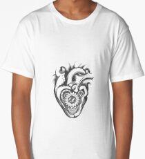 Mechanical Heart Retro Illustration Long T-Shirt