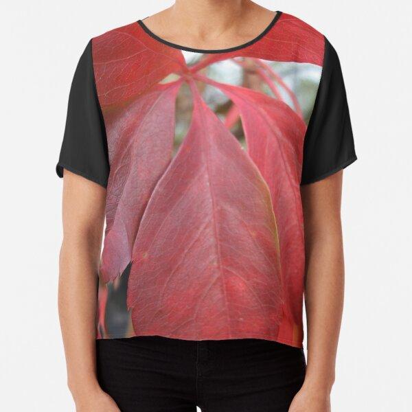Leaf, red leaves Chiffon Top
