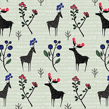 Berry loving deers on green background by VeeraNoir