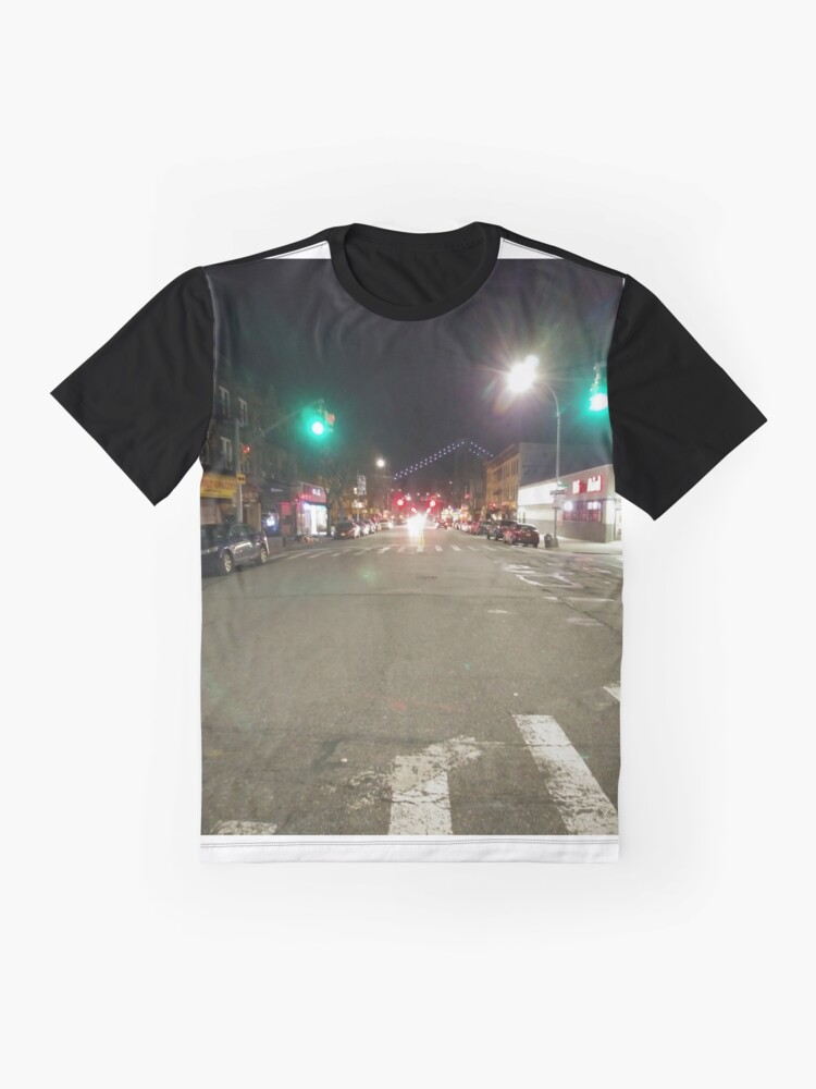 Alternate view of Street light, New York, Manhattan, Brooklyn, New York City, architecture, street, building, tree, car,   Graphic T-Shirt