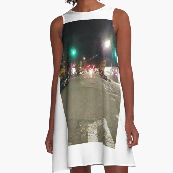 Street light, New York, Manhattan, Brooklyn, New York City, architecture, street, building, tree, car,   A-Line Dress