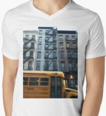 Architecture, New York, Manhattan, Brooklyn, New York City, architecture, street, building, tree, car,   Men's V-Neck T-Shirt
