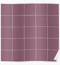 Purple check, square, plaid pattern. Violet bars of different width Poster
