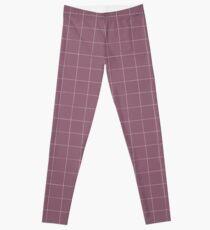 Purple check, square, plaid pattern. Violet bars of different width Leggings