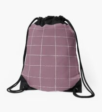 Purple check, square, plaid pattern. Violet bars of different width Drawstring Bag