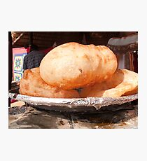Close up of the Indian food deep fried dish of Bhature Photographic Print