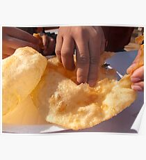 Eating by hand the Indian delicacy of Chole Bhature Poster