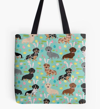 Dachshund easter spring dog breed pet costume easter bunny doxie Tote Bag